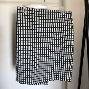J. Crew Black and White Windowpane Pencil Skirt